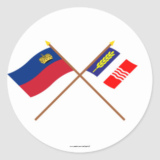 Liechtenstein Flag and Schaan Armorial Banner Stickers