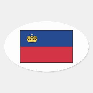 Liechtenstein National Flag Oval Sticker