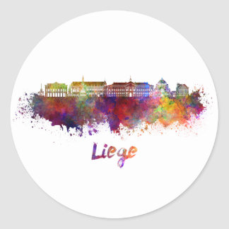 Liege skyline in watercolor classic round sticker