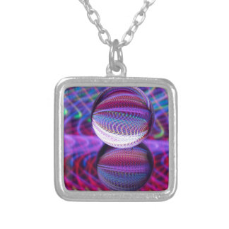 Lies in the crystal ball silver plated necklace