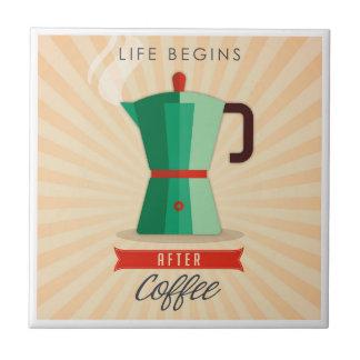 Life Begins After Coffee Ceramic Tile