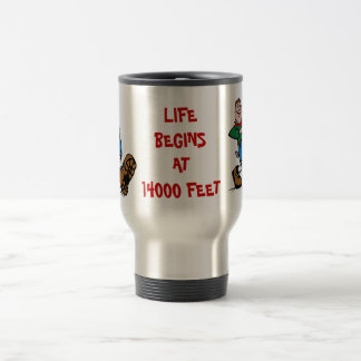 LIFE BEGINS AT 14000 FEET, Hiker Aluminum Mug