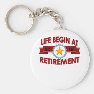 Life Begins At 2018 retirement FUNNY T-Shirt . Key Ring
