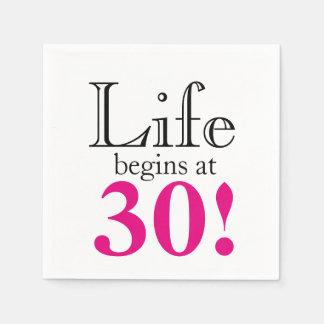 Life begins at 30 disposable napkins
