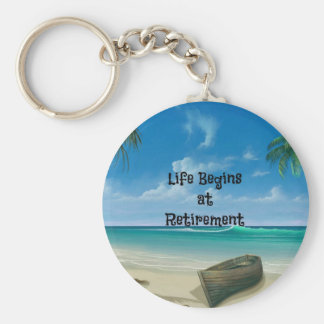 Life Begins at Retirement - Canoe on the Beach Key Ring