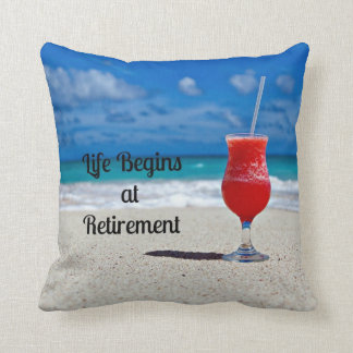 Life Begins at Retirement--Frosty Drink on Beach Cushion