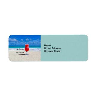 Life Begins at Retirement, frosty drink on beach Return Address Label