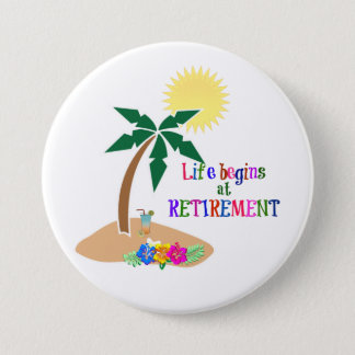 Life Begins at Retirement, Tropical Beach 7.5 Cm Round Badge