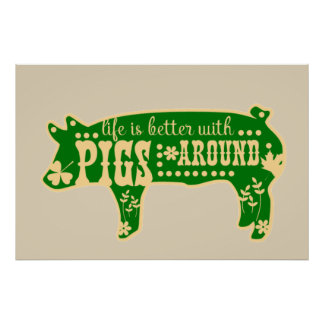 Life Better With Pigs Poster