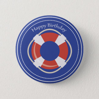 Life Buoy Nautical Happy Birthday Button