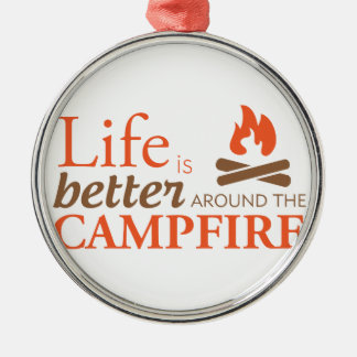 Life by a Campfire Silver-Colored Round Decoration