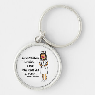 Life Changing Nurse Cartoon Silver-Colored Round Key Ring