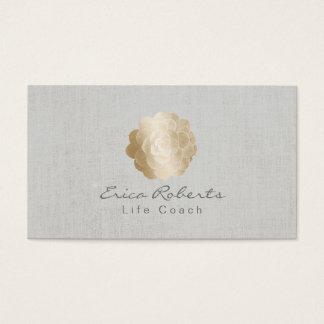 Life Coach Counselor Gold Succulent Classy Linen