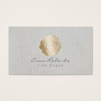 Life Coach Counselor Gold Succulent Classy Linen Business Card