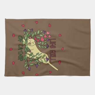 Life Full of Catnip Tea Towel