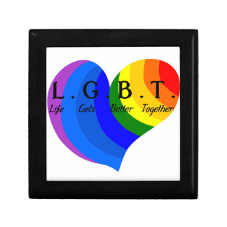 Life Gets Better Together LGBT Pride Small Square Gift Box