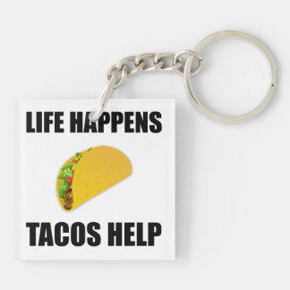 Life Happens Tacos Help Key Ring