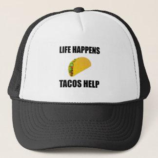 Life Happens Tacos Help Trucker Hat