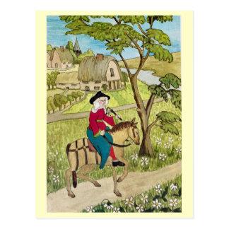 Life in Merry England, Riding through a village Postcard