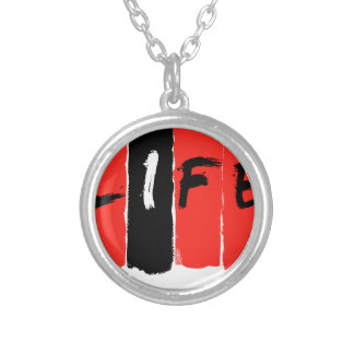 Life (in red) round pendant necklace