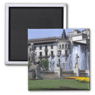 Life in Spain the beautiful Plaza Cataluna with Square Magnet