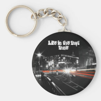 Life in the fast lane keyring basic round button key ring