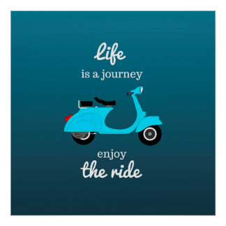 Life Inspirational Quote Blue Ombre Poster