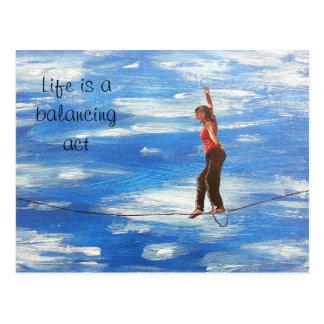 Life is a balancing act postcard