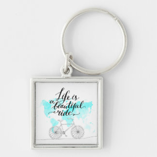 Life Is A Beautiful Ride Blue Silver-Colored Square Key Ring