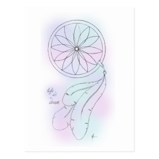'Life Is A Dream' Pastel Dreamcatcher Postcard