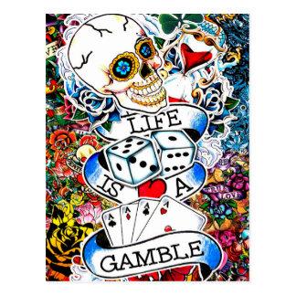 LIFE IS A GAMBLE TATTOO ART POSTCARD