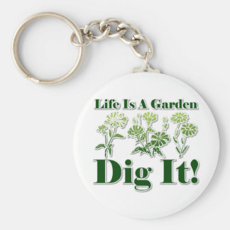 Life is a Garden Basic Round Button Key Ring