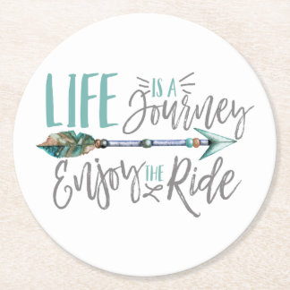 Life is a Journey Enjoy the Ride Boho Wanderlust Round Paper Coaster