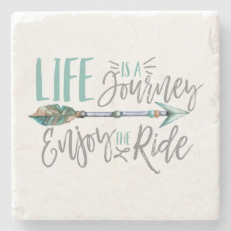 Life is a Journey Enjoy the Ride Boho Wanderlust Stone Coaster