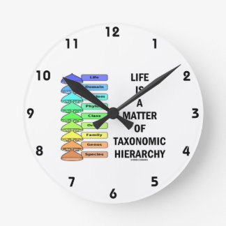 Life Is A Matter Of Taxonomic Hierarchy (Biology) Wallclocks