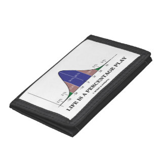 Life Is A Percentage Play Bell Curve Stats Humor Tri-fold Wallet