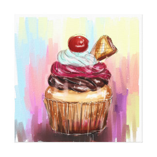 life is a piece of cup cake canvas print