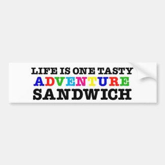 Life Is A Tasty Adventure Sandwich (rainbow) Bumper Sticker