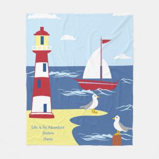 Life Is An Adventure Nautical BOY Godson Gift Fleece Blanket