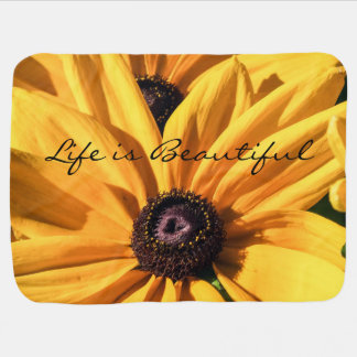 Life is Beautiful Black Eyed Susan Baby Blanket
