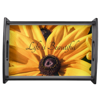 Life is Beautiful Black Eyed Susan Serving Tray