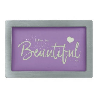Life-is-Beautiful-green green Text Rectangular Belt Buckles