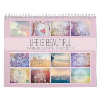 Life Is Beautiful Inspirational | Pastel Photos Wall Calendar