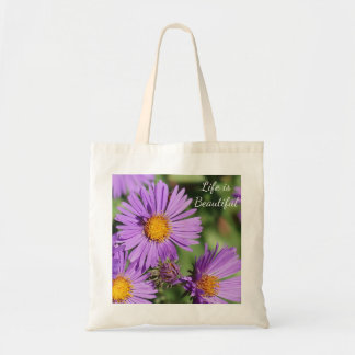 Life is Beautiful New England Aster Budget Tote