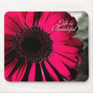 Life is Beautiful Pink Daisy Mousepad