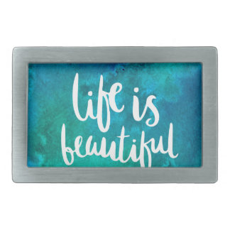 Life is beautiful rectangular belt buckles