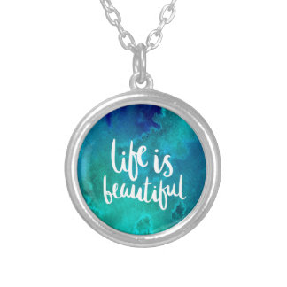 Life is beautiful silver plated necklace