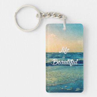Life is beautiful Single-Sided rectangular acrylic key ring