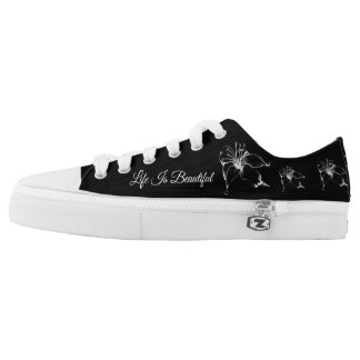 Life Is Beautiful White Lily Sketch Low Tops
