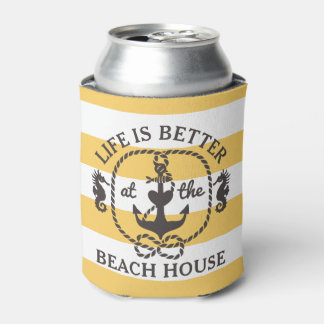 Life is Better at the Beach House | Sun Yellow Can Cooler